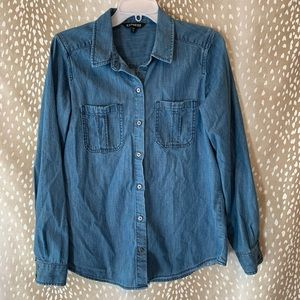 Express Chambray Denim Button Down Top Size M